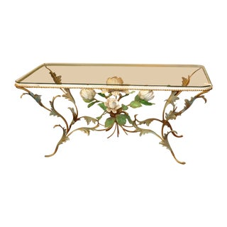 Iron & Glass Italian Tole Painted Coffee Table