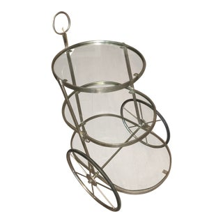 Zodax Stainless Steel and Glass Round Trolley