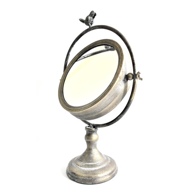 Image of Tilting Metal Mirror on Stand with Bird Finial