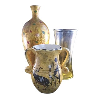 3 Various Yellow Themed Vases - Set of 3