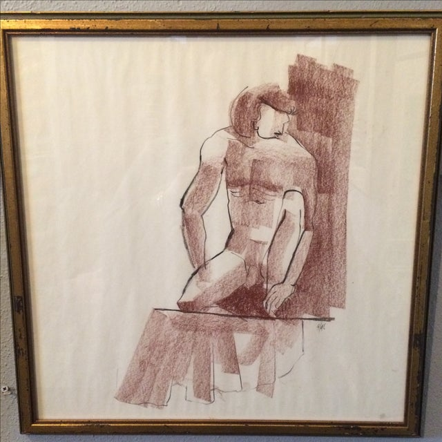 Vintage Charcoal Nude Male Drawing - Image 5 of 5