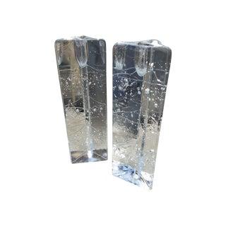 Mid-Century Modern Glass Candleholders - A Pair