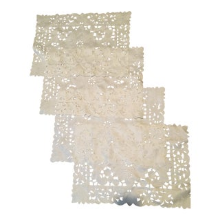 Antique English Hand Cut Placemats - Set of 4