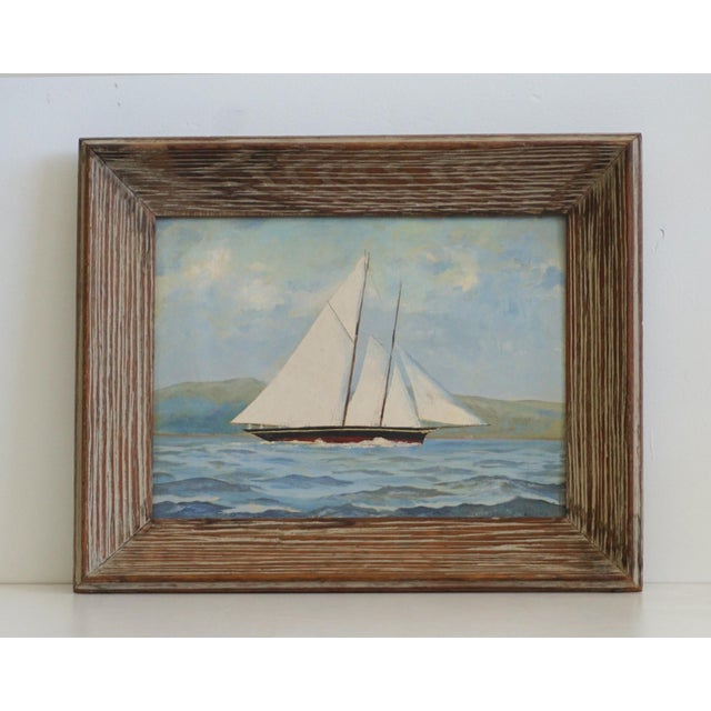 Vintage Sailboat Painting In Weathered Frame - Image 2 of 6