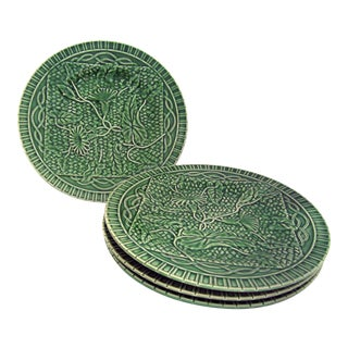 Bordallo Pinheiro Green Majolica Plates - Set of 4