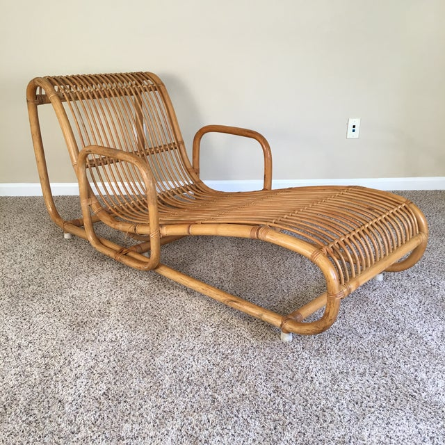 Henry olko for willow reed rattan bamboo chaise chairish for Chaise henri 4
