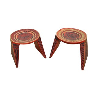 Vintage Pair of Hand Painted Aztec Tribal Stools