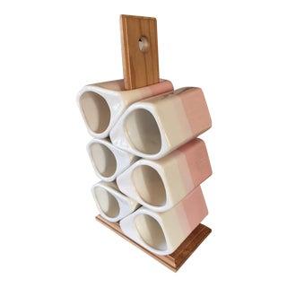 Mid Century Pink Pottery Mugs & Rack - S/6