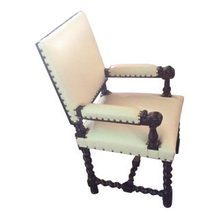 Bone Leather & Brass Library Chair