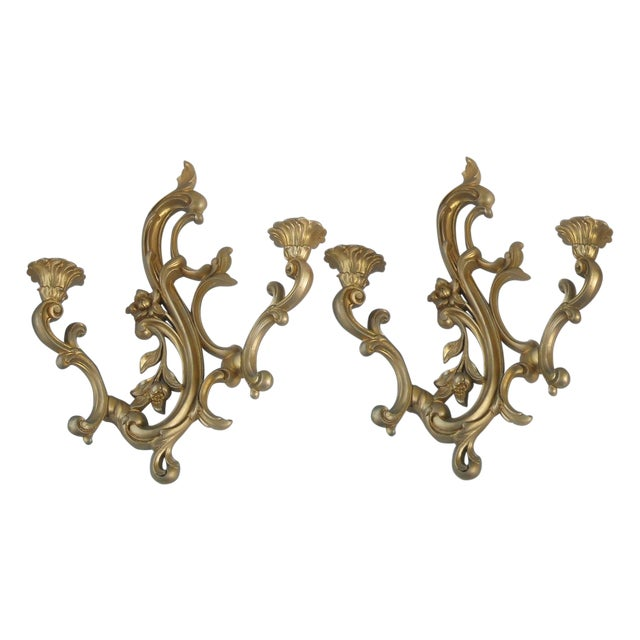 Midcentury Gold Candle Sconces - A Pair - Image 1 of 6
