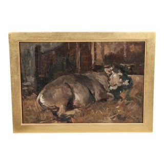 Original Oil Painting of a Recumbent Cow