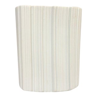 Modernist White Bisque Porcelain Naaman Ridged Vase