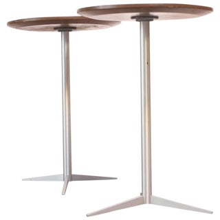Pair of Brushed Aluminum Thonet Drink Tables