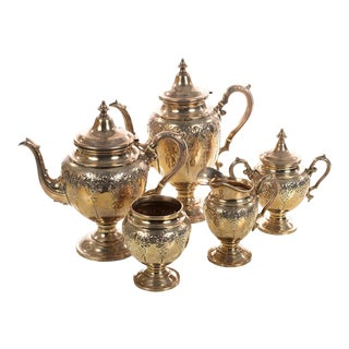 Sterling Silver Beautiful Antique Victorian Tea Set - Set of 5