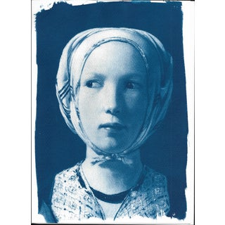 Cyanotype Print, De La Tour Fortune Teller Girl
