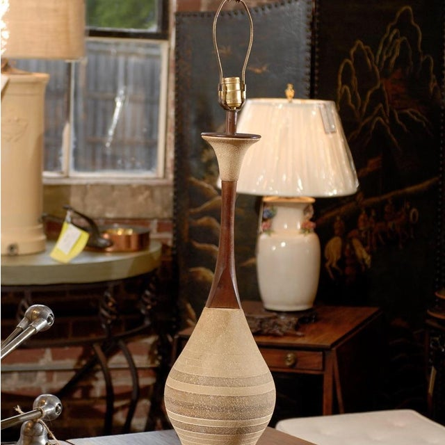 Mid-Century Ceramic and Walnut Lamps- A Pair - Image 4 of 4