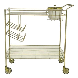 Brass Bar Cart With Integral Bottle Storage & Ice Bucket.