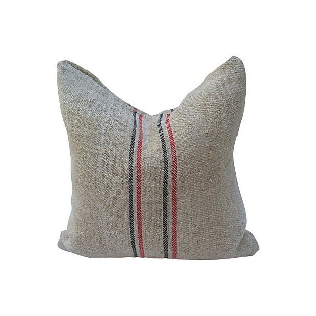 Striped Linen Feed Bag Pillows - Set of 3 - Image 4 of 5