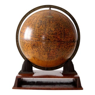 1930s Vintage Rand McNally Metal Globe On Stand