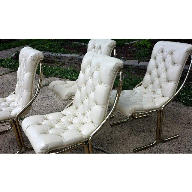 Image of Daystrom Tufted White Dining Chairs - Set of 4