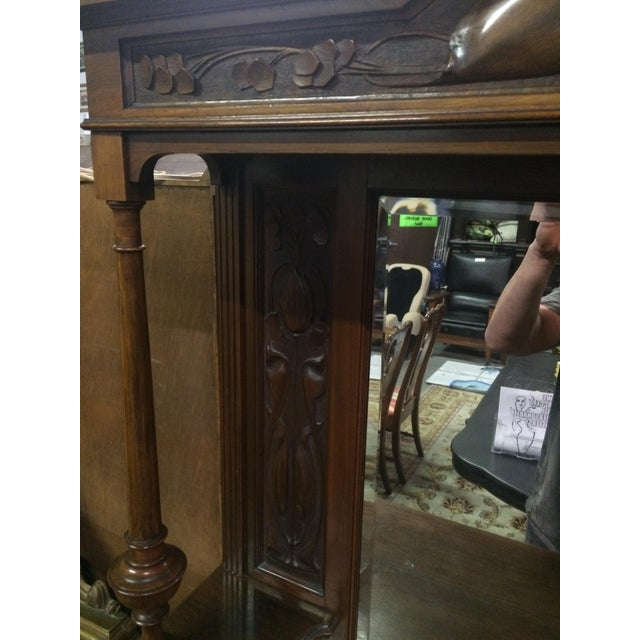 Antique Hand-Carved Buffet & Mirror - Image 7 of 10