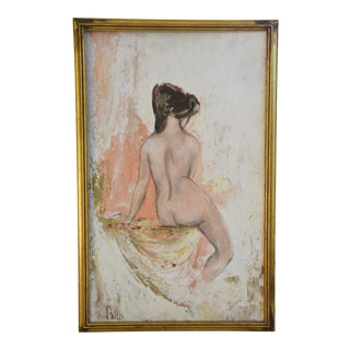 1950s Mid-Century Framed Female Nude Oil Painting Study