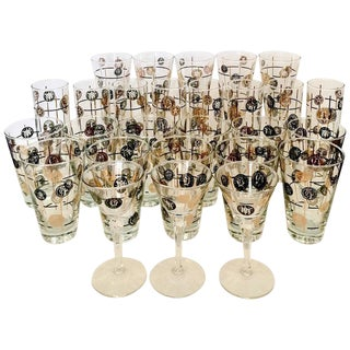 Mid-Century Glass Coins 22-Karat Glasses - Set of 27