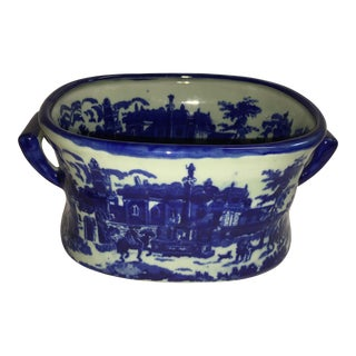 Blue & White European Scene Ceramic Vessel