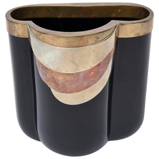 Rare Italian Black Glass, Mixed Metals Antonio Pavia Sculptural Vase