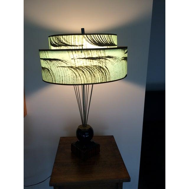 Image of Aqua, Gold & Black Mid-Century Table Lamp