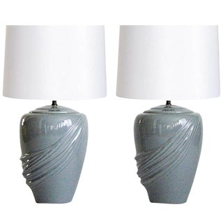Vintage Draped Gray Lamps - A Pair