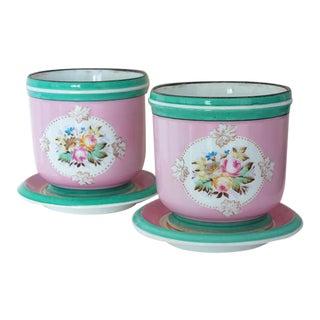 1850 Old Paris Floral Motif Porcelain Cache Pots Planters - a Pair