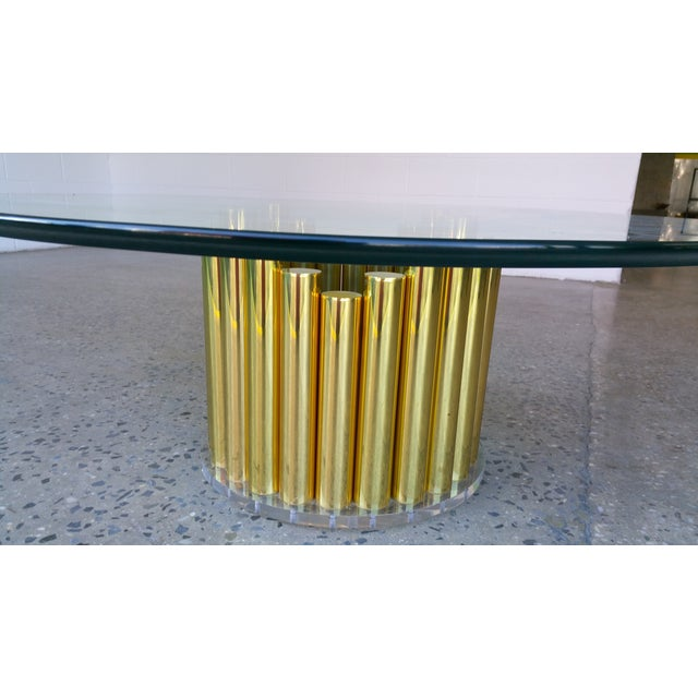 1980's Karl Springer Style Brass Lucite & Glass Cocktail Table - Image 9 of 10