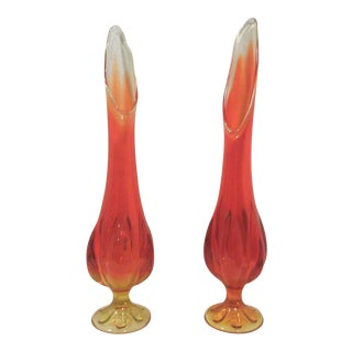 Mid-Century American Art Glass Orange Ombre Vases - A Pair