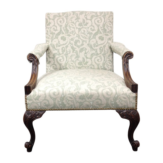 Image of Mahogany Armchair With Nail Heads