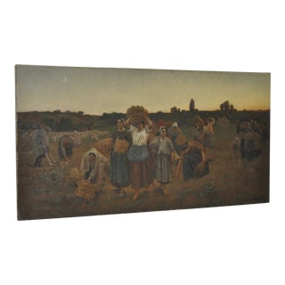 """1850s Alfred Copeland """"The Gleaners"""" Original Oil on Canvas"""