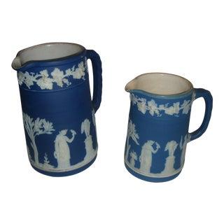Wedgwood Blue Jasperware Pottery Creamers