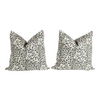 Charcoal Gray Linen Leopard Pillows - A Pair