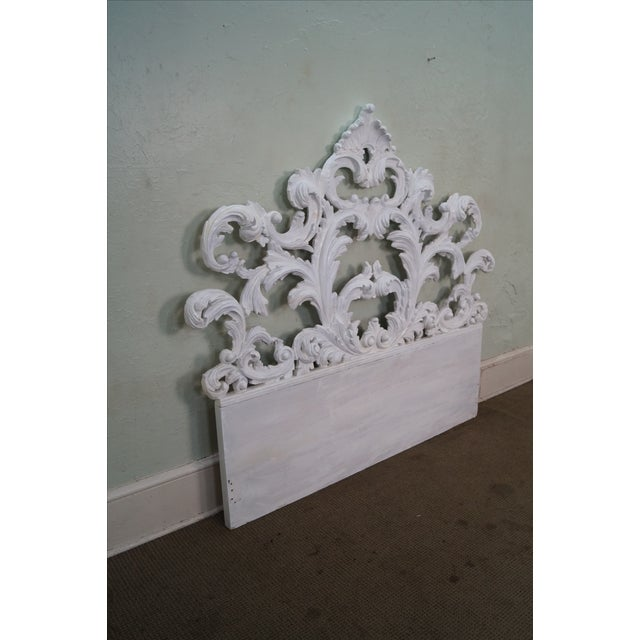 Vintage Rococo Painted Carved Wood Queen Headboard - Image 5 of 10