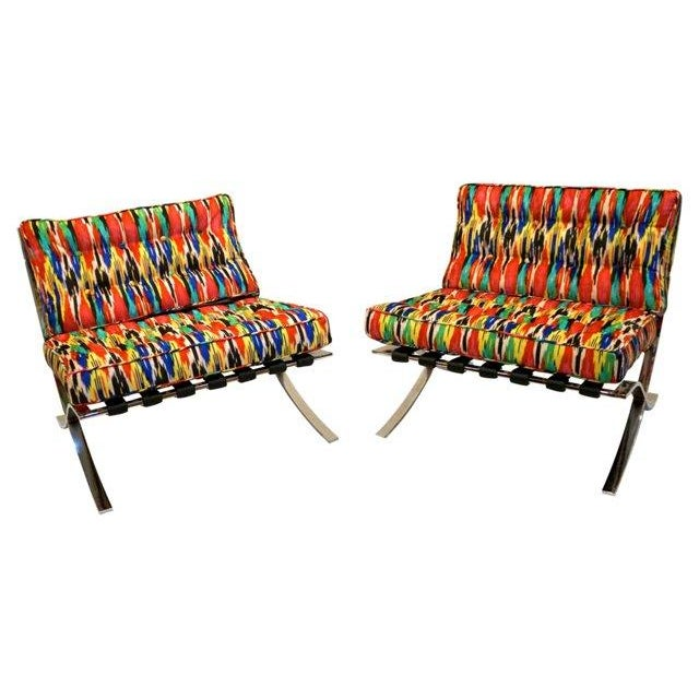 Ikat Barcelona Style Chrome Chairs - A Pair - Image 3 of 7