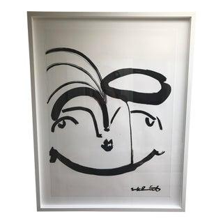"Sally King Benedict Original Work ""Bouffant Black"" on Paper Framed"