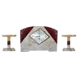 Italian Marble Art Deco Mantel Clock Set with Matching Garniture - Set of 3