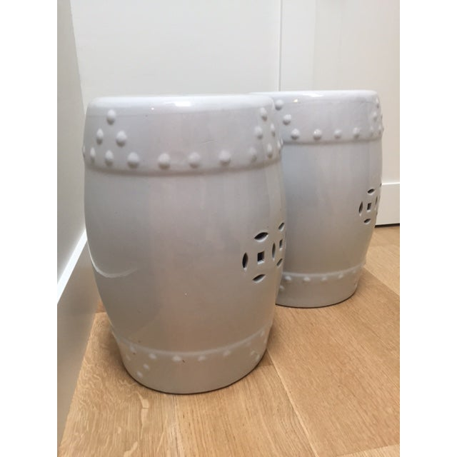 White Ceramic Garden Stools- A Pair - Image 4 of 5