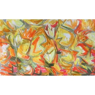 """Large Abstract by Trixie Pitts """"Red Gold Water Lilies 3"""""""