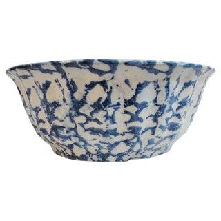 Fluted 19th Century Spongeware Fruit or Serving Bowl