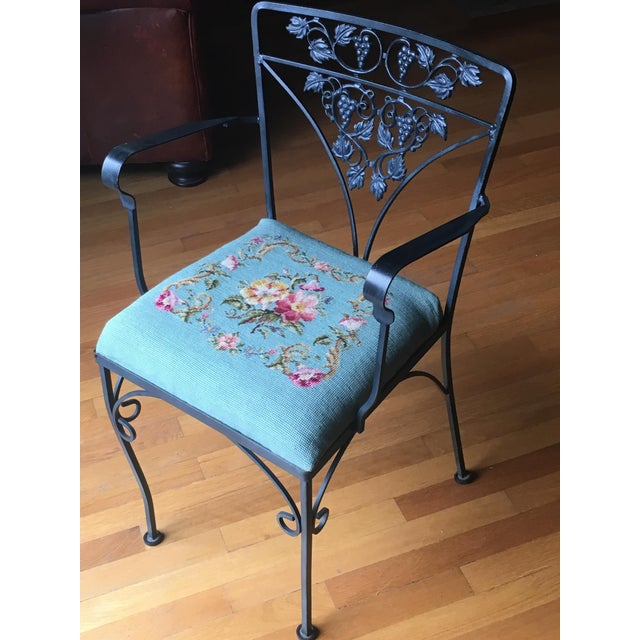 Needlepoint Cushion Wrought Iron Chair - Image 8 of 10