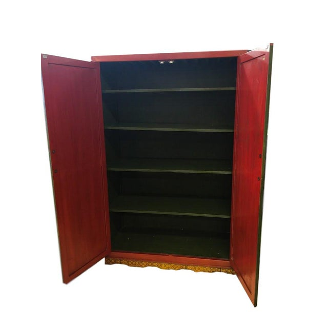 Hand Painted Chinoiserie Red Armoire - Image 3 of 5