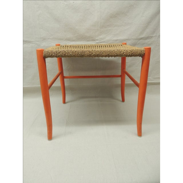 Mid Century Modern Orange Bench With Rush Seat - Image 4 of 4
