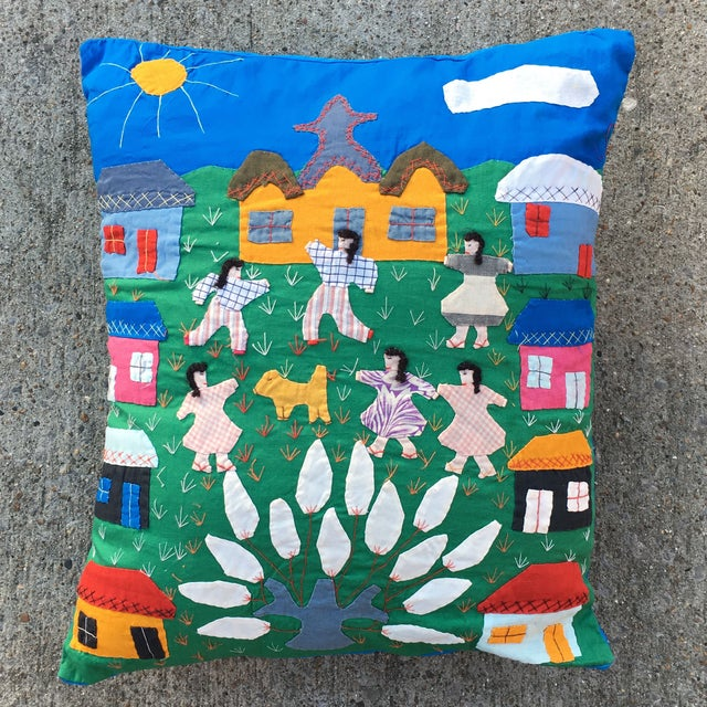 Handmade Colorful Cotton Pillow - Image 2 of 6