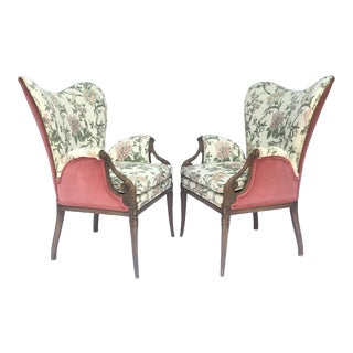 Carved French Hollywood Regency Style Butterfly Wing Chairs